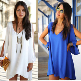 2014 Summer Autumn Fashion Women Dresses Loose Off the shoulder Draped Mini Chiffon Ladies A-line Dress Plus Size Sexy Girls Party Dress E28