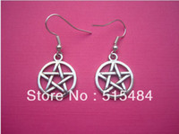 Wholesale FreeShipping pairs Funky Silver Circle Pentagon Earrings Kitsch Retro Star Gothic Emo Wicca