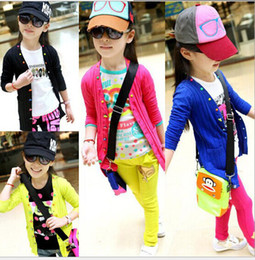 Wholesale children clothes fall autumn cute cartoon girls coat colorful buckle cotton kids clothing jacket cardigen dandys