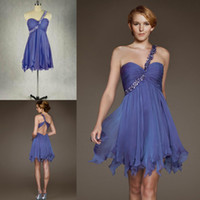 Reference Images One-Shoulder Chiffon Sexy Style 2014 Cocktail Dresses Cheap One Shoulder Beaded Sleeveless Mini Length Back Criss Cross Straps Chiffon Formal Homecoming Gowns ZX