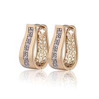 Wholesale New K Gold Plated CZ Zirconia Hoop Earrings For Women Bijoux CC Ear Ring Earings Fashion E18K