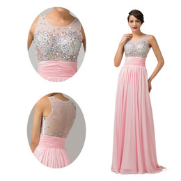 Wholesale Floor Length Sheer Beaded Crew Neckline Pink Evening Dresses Chiffon Satin Tulle Prom Dress Formal Gown CL6110