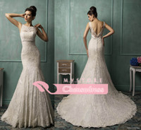Wholesale Elegant Mermaid Wedding Dresses with Jewel Neck Sheer Lace Straps Backless Skirt Covered Buttons Fitted on the Turmpet Bridal Dresses AS1266