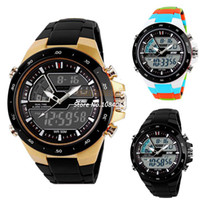 Wholesale Men Sports Watch Quartz LED Dual Movt DayDesign Round Dial Steel Watch Fashion Colorful Light Military Dive Watch New