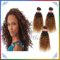 Cheap 3pcs Cheap Queen Brazilian Ombre Kinky Curly Wave Hair Weave Two Tone Color 1b30 Human Hair Wigs 100g Alibaba Best Brazilian Hair Vendors