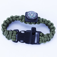 Wholesale Brand New Paracord Outdoor survival Bracelets Fashion Parachute Compass Bracelet Handcraft Friendship Link Bracelet Camping