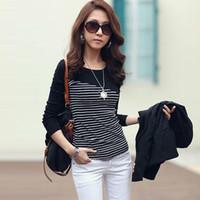 Wholesale 100 Cotton Women Tiered Stripe T shirts Casual Slim Tee Tops Long Sleeve Basic Blouse Plus Size Shirt S XXXL