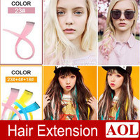 Wholesale 24 colors cm Fashion Women Highlight Colorful Popular Colored Clip On In Hair Extensions