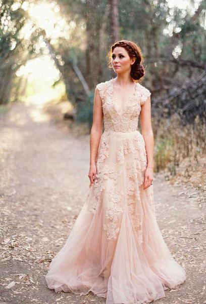 Оптом - Vintage 2015 кружева свадебные платья Шампань милая оборками свадебное платье с короткими рукавами глубокий V шеи слоистых Reem Acra кружева