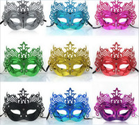 Wholesale Plating Light Gold Crown Mask Men s Party Mask Male Party Mask Halloween Mask color mix colors