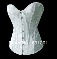 Sexy Spandex Floral White Full Spiral Steel Boned Brocade Gorgeous Corset Bustierv Body-Shape