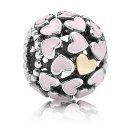 Compra Online Corazón del oro de la pulsera 925-925 plata de ley rosa corazón enema 14k oro chapado corazones encanto encanto sazonar talón para Pandora Europea encanto pulsera