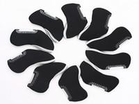 Wholesale 10 Golf Iron Head Nylon Cover Case Machine Washable Golf Head Covers Black