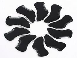 10 pcs Golf Iron Head Nylon Cover Case   Machine Washable Golf Head Covers--Black