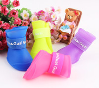 Wholesale Pet Puppy Dog Cat Waterproof Boots Protective Rubber Rain Shoes Candy Color S M L FAST SHIPPING set