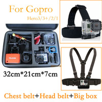 big bag shock - Body Chest Strap Mount and head belt Black Anti shock big box Portable Bag for SJ4000 Gopro Hero3 hero3 Hero4 hero HD Storage Case