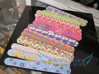 Wholesale Professional colorful Nail Files Buffer Buffing Slim Grit Sandpaper double side prints