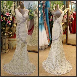 New Luxurious Brilliant V-neck Crystals Mermaid Prom Dresses Beading Lace Ruched Chiffon Sweep Train 2013 Sexy Beach Mermaid Wedding Dresse
