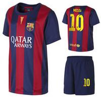 Wholesale 14 Barcelona Home Soccer kits Messi Football Shirts with Shorts Spain LA Liga Mens Soccer Set AAA Thai Quality Soccer Uniform