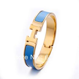 Wholesale OP Fashion Designer Clic H ENAMEL BRACELET Yellow Gold Plated Hardaware With Blue Enamel Elegant Bracelet For Women Surprise Gift