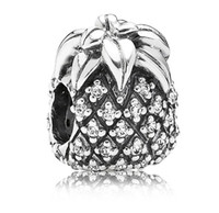 Wholesale 2014 New Sterling Silver Sparkling Pineapple Charm Threaded Beads For Pandora