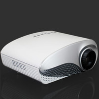 Wholesale Free DHL lumens Electric Zoom Portable Video Pico Micro LCD Handy LED Mini Projector HDMI USB AV VGA TV Tuner Tripod Cute Speaker