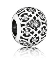 Cheap 2014 New Sterling Silver Openwork Lattice Charm With Clear Cubic Zirconia For Pandora Bracelet