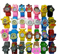 Wholesale Popular Cute Silicone Animal Slap Snap Watch Multi styles Cartoon Children Wristwatch Candy Gift Watch DHL free Christmas Gift Watch
