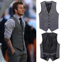 Wholesale 2014 New Fashion Beckham Vest Men s Formal Suit V necked vest European Style Slim Fit Fashion dark grey black M XXL Quality
