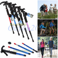 Aluminum Mountain-climbing T-handle New Arrival Multi-color Durable Adjustable AntiShock Hiking Trekking Walking Pole Cane Stick Crutch Free Shipping