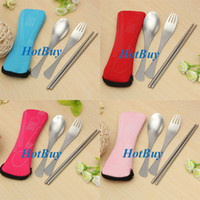 Wholesale Traveling Camping Picnic Stainless Steel Spoon Fork Chopsticks Spork Cutlery Set