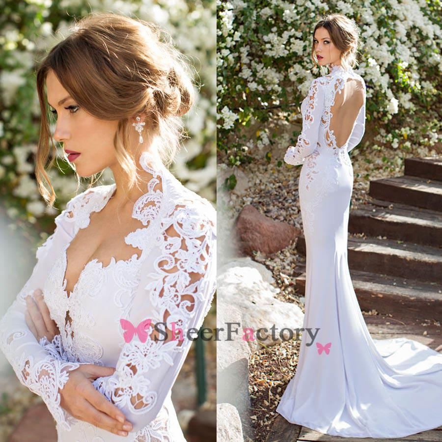 Mermaid wedding dresses queen anne long sleeve embroidery for Wedding dress with sleeves and open back