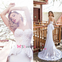 Cheap Orchid 2014 Sheath Wedding Dresses Sweetheart Lace Appliques Pearl Glitz Sheer Sweep Train Sash Peplum Zipper Back Beach Bridal Gown JV7141
