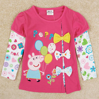 Girl Spring / Autumn Standard New peppa pig long sleeve girls T-shirt mock 2pcs autumn girl tops cute baby girl t Shirt with bow top quality cotton cartoon kids tees