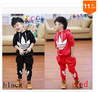 Unisex Spring / Autumn  children's clothing 2014 new spring autume boy and girl set kid's Popular sport suit Hooded fleece and sports pants