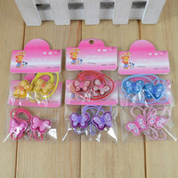 Wholesale Cute Baby kid children girl Elastic Hair bands circle butterfly design rubber band color mix o H02 Autumn