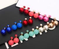 Wholesale New Fashion Paragraph Hot Selling Earrings Double Side Shining Pearl mm Stud Earrings Big Pearl Earrings For Women