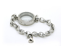 Wholesale Stainless steel magnetic floating locket bracelet silver with crystals mm lady style women hot style