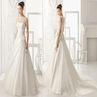 Wholesale 2014 New Sheer Illusion Applique Neck Pleated A Line Wedding Dresses Handmade flowers Covered Button White Ivory Organza Bridal Gown