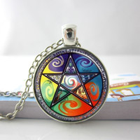 Pendant Necklaces air circles - Wiccan Astrology Fire Air Earth Water Glass Tile Necklace Pendant I33