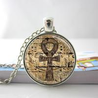 egyptian jewelry - Egyptian Ankh Eternal Life Symbol Glass Dome Jewelry Necklace Pendant I34