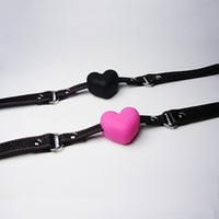 Cheap Wholesale - Bondage Gear Bdsm sexToys Leather Body Harness Ball Gag bondage ring gag black heart-shaped ball gag Adult Products LB88