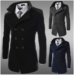 Wholesale New Fashion men Trench coats Korean Slim fit Business casual wool blended outwear men s clothing for winter autumn over coat