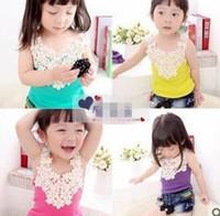 Cheap Summer 2014 Children's Tank Tops Princess Girls Shirt Tee Clothes Cute Girl Lace Flower Vest T-shirt Sleeveless Shirts 5pcs lot 4 Color A311