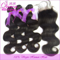 Wholesale Free part Lace closure with bundles A unprocessed Virgin hair Eurasian body wave with closure human hair