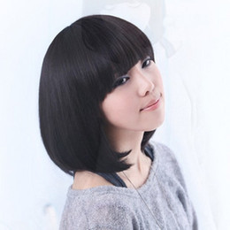 Girls short hair fluffy oblique bangs lengthen bobo