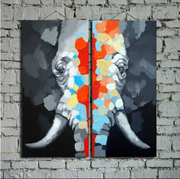 Great Hand Painted Elephant Oil Painting on Canvas Animal Large Wall Art for Home Decoration 2Panels unframed