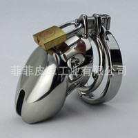 Cheap Newest BDSM Chastity Barbed Anti Off Ring Sexual Abuse Prevent Masturbation Bondage Gear Stainless Steel Chastity Cage Adult Sex Toys Small