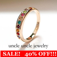 Women's d-ring - Beautiful K Rose Gold Plated Multicolor Austrian Rhinestones Classic Must have Simple Lady Ring KRGP Stamp