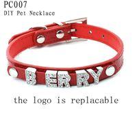 Wholesale 5 Size Options Fashion Vintage DIY Dog Name Plain PU Leather Dog Necklace Personalized Pets Collar Retail